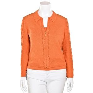 St. John Orange Santana Knit Jacket & Top Set